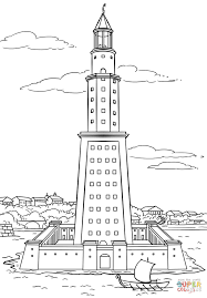 pharos lighthouse of alexandria coloring page free printable