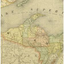 Michigan Lake Maps by Map Michigan Peninsula 1887 Original Art Antique Maps U0026 Prints