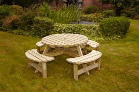 heavy duty round picnic table anchor fast garden furniture simply wood