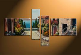 4 piece colorful canvas city oil paintings multi panel art
