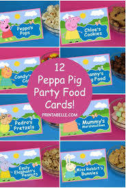 peppa pig party peppa pig party food cards free printable sign party