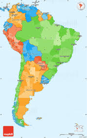 North American Time Zones Map by Political Simple Map Of South America