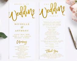 program for wedding gold wedding program etsy