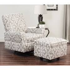 abbyson chase grey floral swivel glider chair and ottoman free