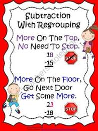 subtraction with regrouping chant poster freebie math ideas