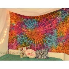 mandala tie dyed multi color hippie tapestry