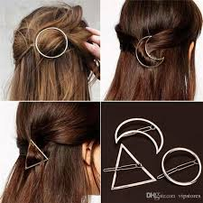 barrettes for hair 2018 hollow moon triangle barrettes hair clip jewelry gold