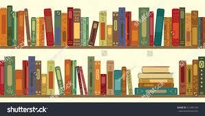 vector illustration horizontal banner bookshelves retro stock