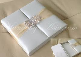 wedding invitations box embellished ivory silk wedding box for invitation cards with clasp
