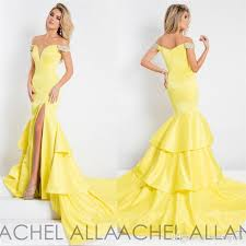 light yellow prom dresses rachel allan mermaid prom dresses off shoulder neckline