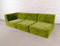 avocado green velvet 3 seat modular sofa 1970s 68009