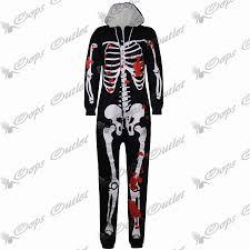 women ladies skeleton halloween all in one piece hooded playsuit