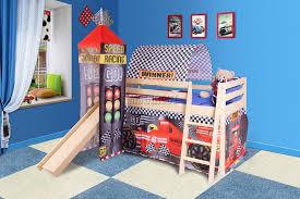 FoxHunter Wooden Mid Sleeper Cabin Bunk Bed Kids Tent Tower Slide - Tent bunk bed