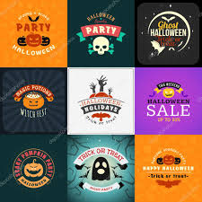 set of retro happy halloween badges design element for greetings