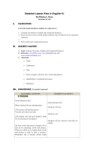 identify sentence pattern english grammar detailed lesson plan sentence structure simple compound