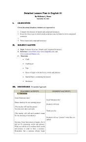 detailed lesson plan sentence structure simple u0026 compound
