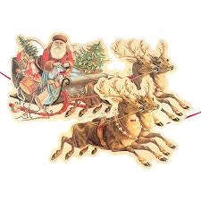 santa sleigh and reindeer santa sleigh reindeer garland pipii