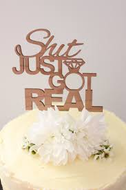 just got real timber wedding cake topper rustic
