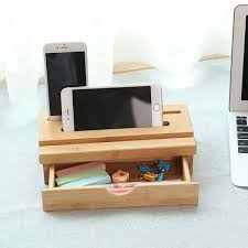 Bamboo Desk Organizer The Bamboo Desk Organizer With Phone Holder And Drawer Gadgetsin
