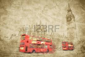 artistic digital drawing of london the uk red bus in motion