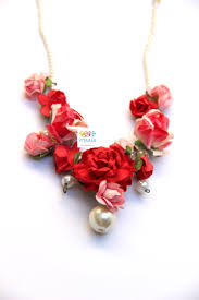 red flower necklace images Red pink rose paper flower jewellery rangpitaara jpg