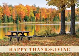 picnic in the park thanksgiving greeting card
