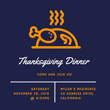 orange and navy blue icon thanksgiving invitation templates by canva