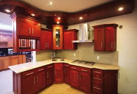 alluring red cherry wood shaker kitchen cabinets come with cream