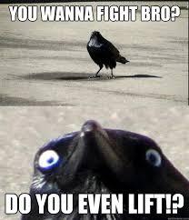 Fight Meme - you wanna fight bro do you even lift insanity crow quickmeme