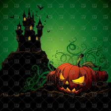 halloween theme background happy halloween theme greeting card pumpkin and black cat vector