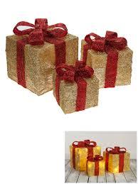 set of 3 led light up present gift box