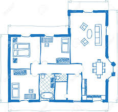 illustration of floor plan of house doodle style royalty free