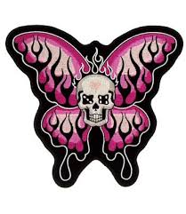 pink flaming butterfly skull patches