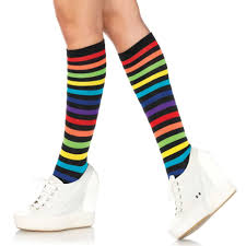 tights dept leg avenue 5601 rainbow striped knee highs tights