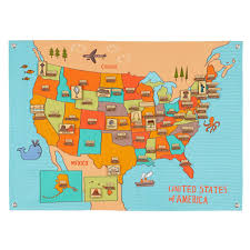 United States Map With Oceans by Road Trip Soft Wall Map The Land Of Nod