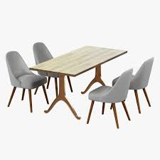 west elm mid century dining chair and table 3d model max obj 3ds