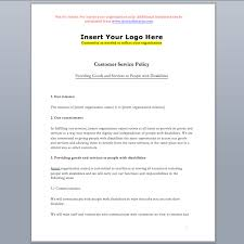 customer service standard policy template u2013 accessibility ontario