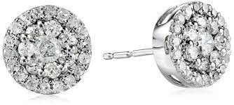 diamond cluster earrings 10k white gold diamond cluster earrings 1 2 cttw