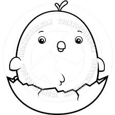 cartoon baby chicken egg black and white line art by cory thoman