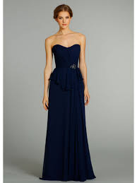 a line sweetheart floor length navy blue chiffon long bridesmaid