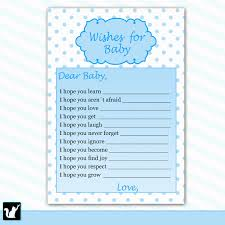 printable polka dots wishes for baby card baby shower blue