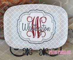 personalized platter personalized melamine platter monogrammed platter the pink paisley