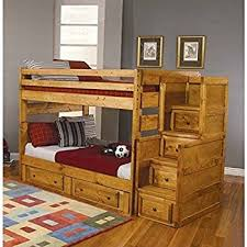amazon com mission twin over twin staircase bunk bed with 3