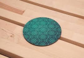 round wood coaster green geometry coasters drink coasters