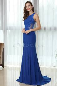 edressit blue sleeveless lace appliques prom mermaid gown 36170305