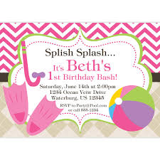 pool invitation pink chevron and argyle