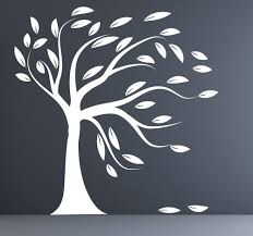 white tree decal etsy wall decal white tree modern silhouette leaves blowing mural