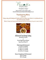 thanksgiving catering menu 2015 peacock s pantry