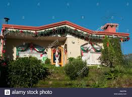 house decorated for christmas central valley costa rica stock