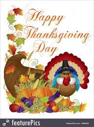 illustration of happy thanksgiving day cornucopia turkey